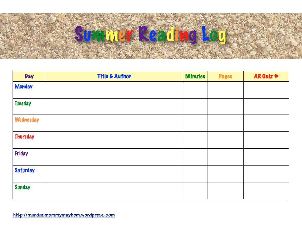 Pin school reading logs printable on pinterest for Summer reading log template